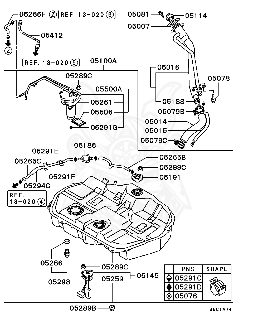 Mitsubishi - Clip, Fuel Tank