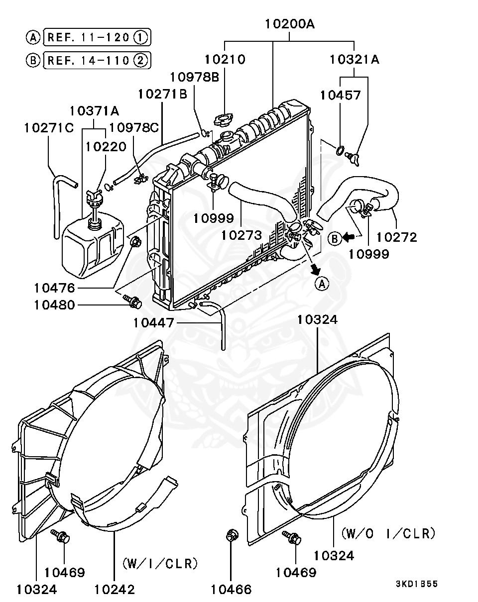 Mitsubishi - Hose, Radiator Condenser Tank