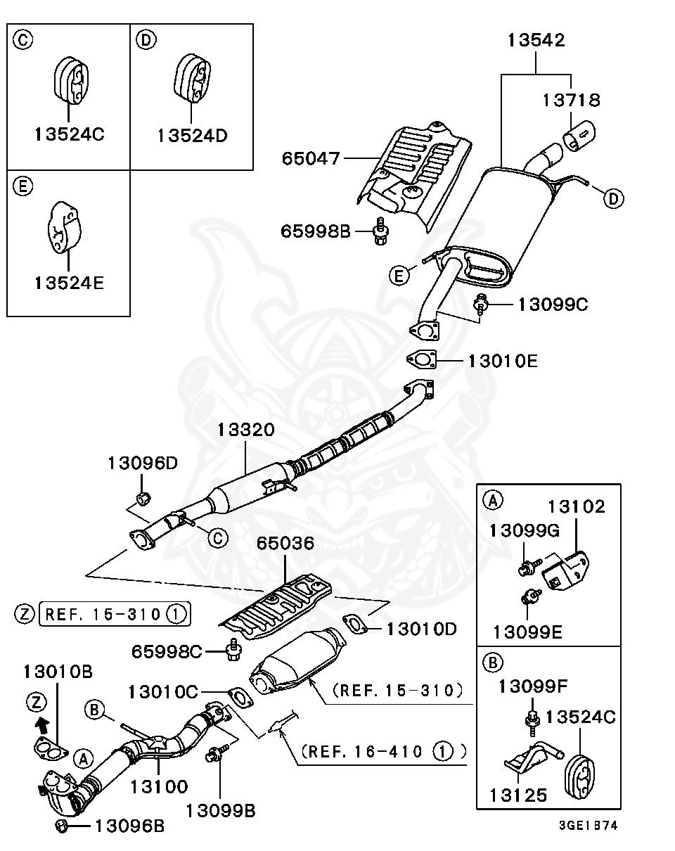 Mitsubishi - BOLT, EXHAUST PIPE