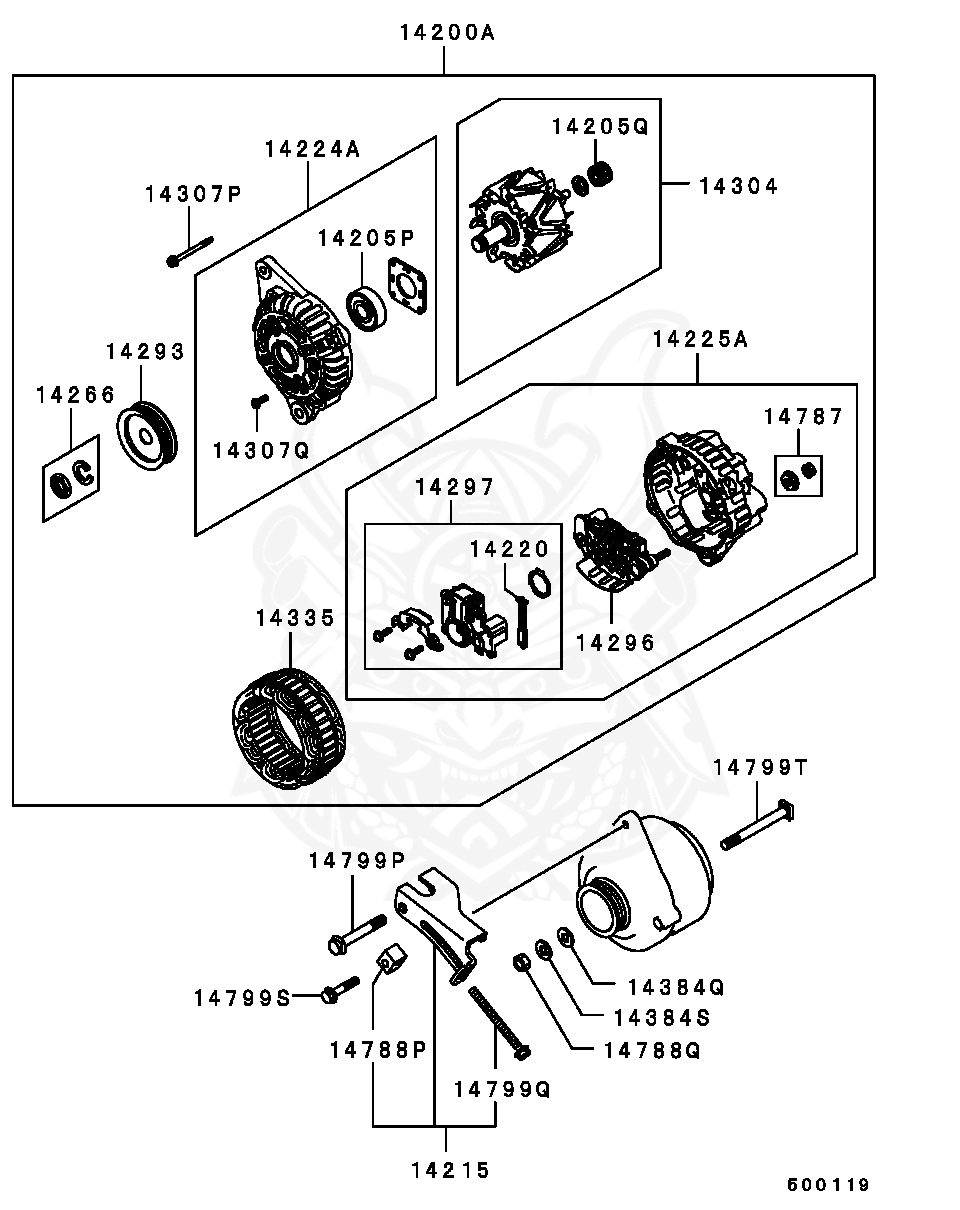 Mitsubishi - Screw Set, Alternator Inr