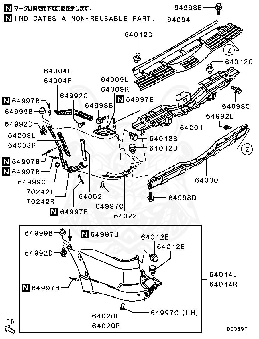 Mitsubishi - Clip, Fr Bumper