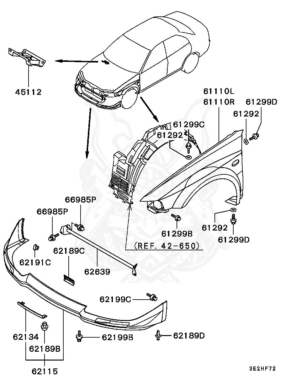 Mitsubishi - Bolt, Fr Bumper