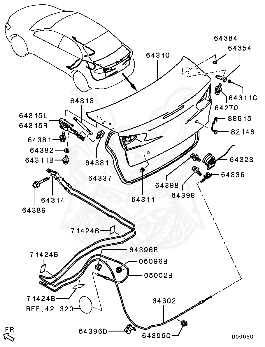 Mitsubishi - Washer, Trunk Lid