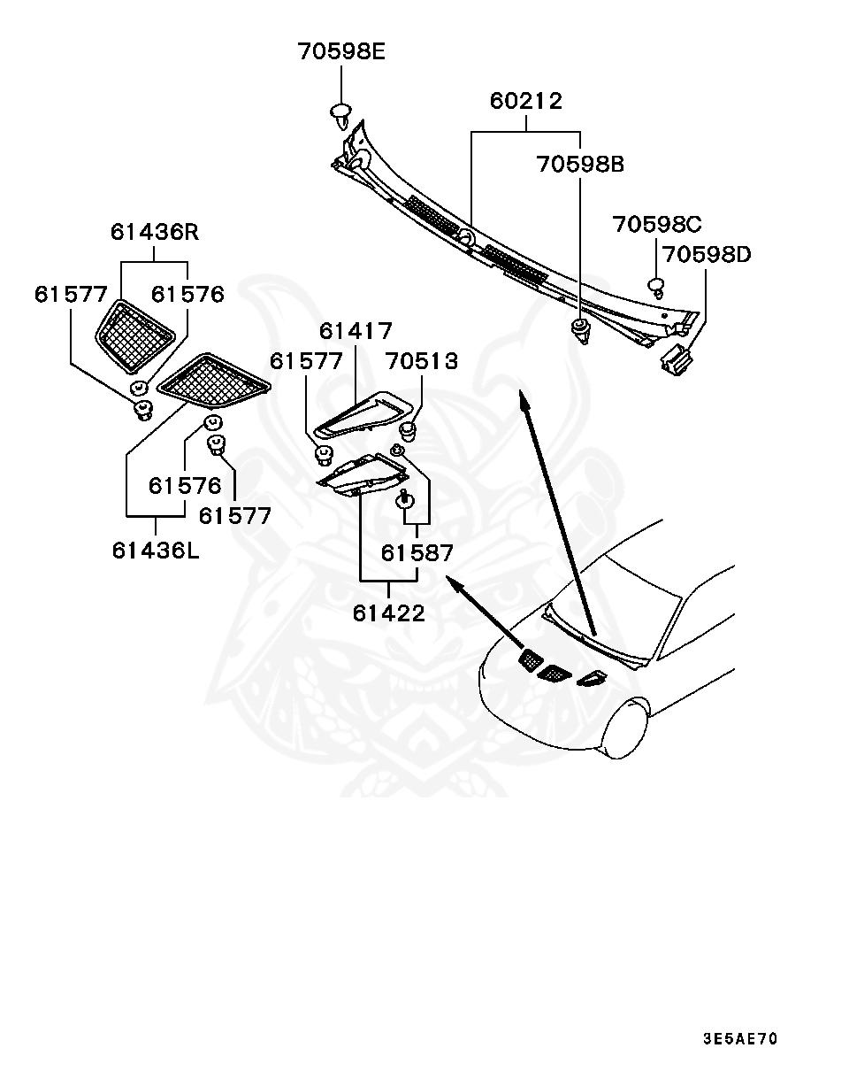 Mitsubishi - CLIP, AIR INLET GRILL