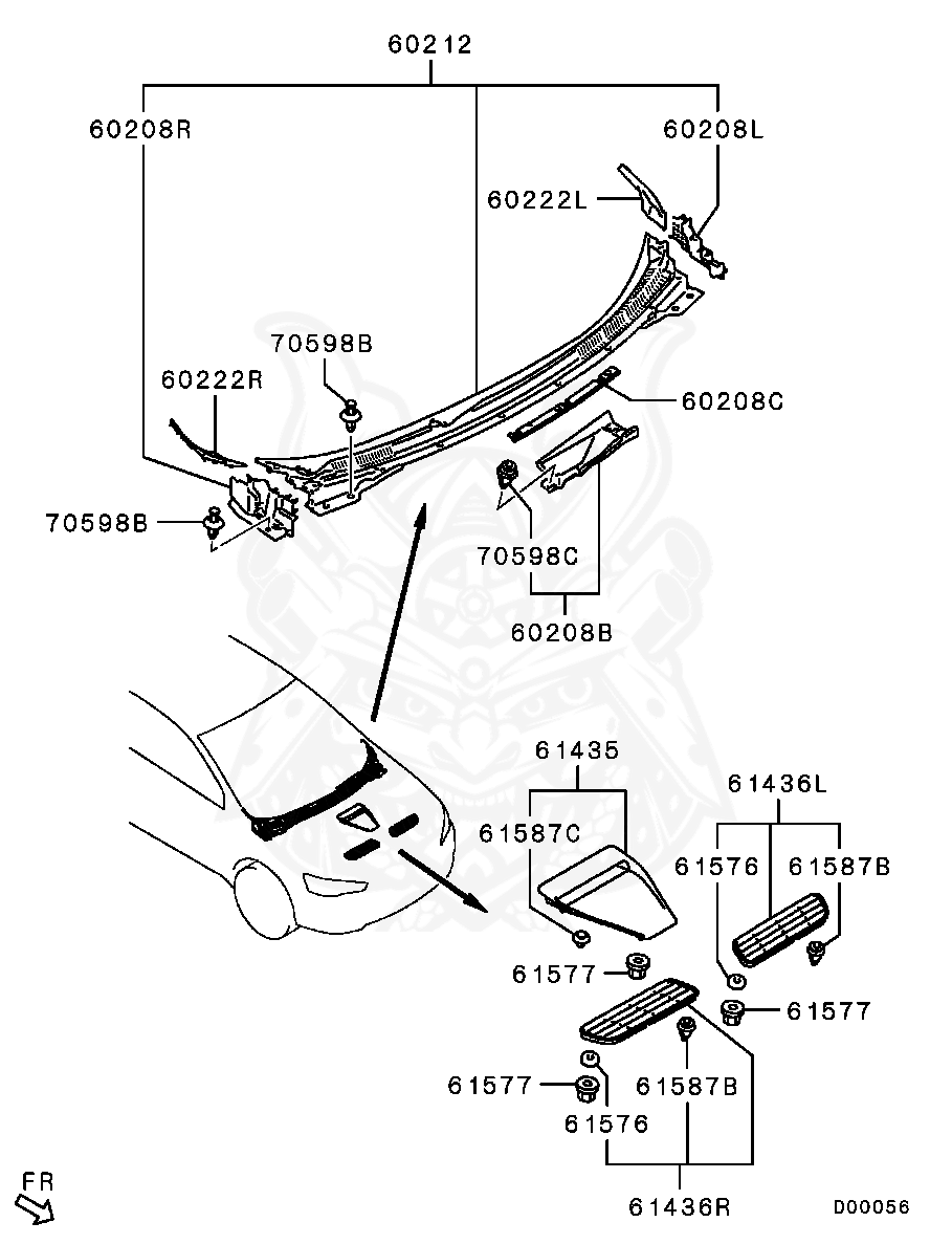 Mitsubishi - Gasket, Hood Air Garnish