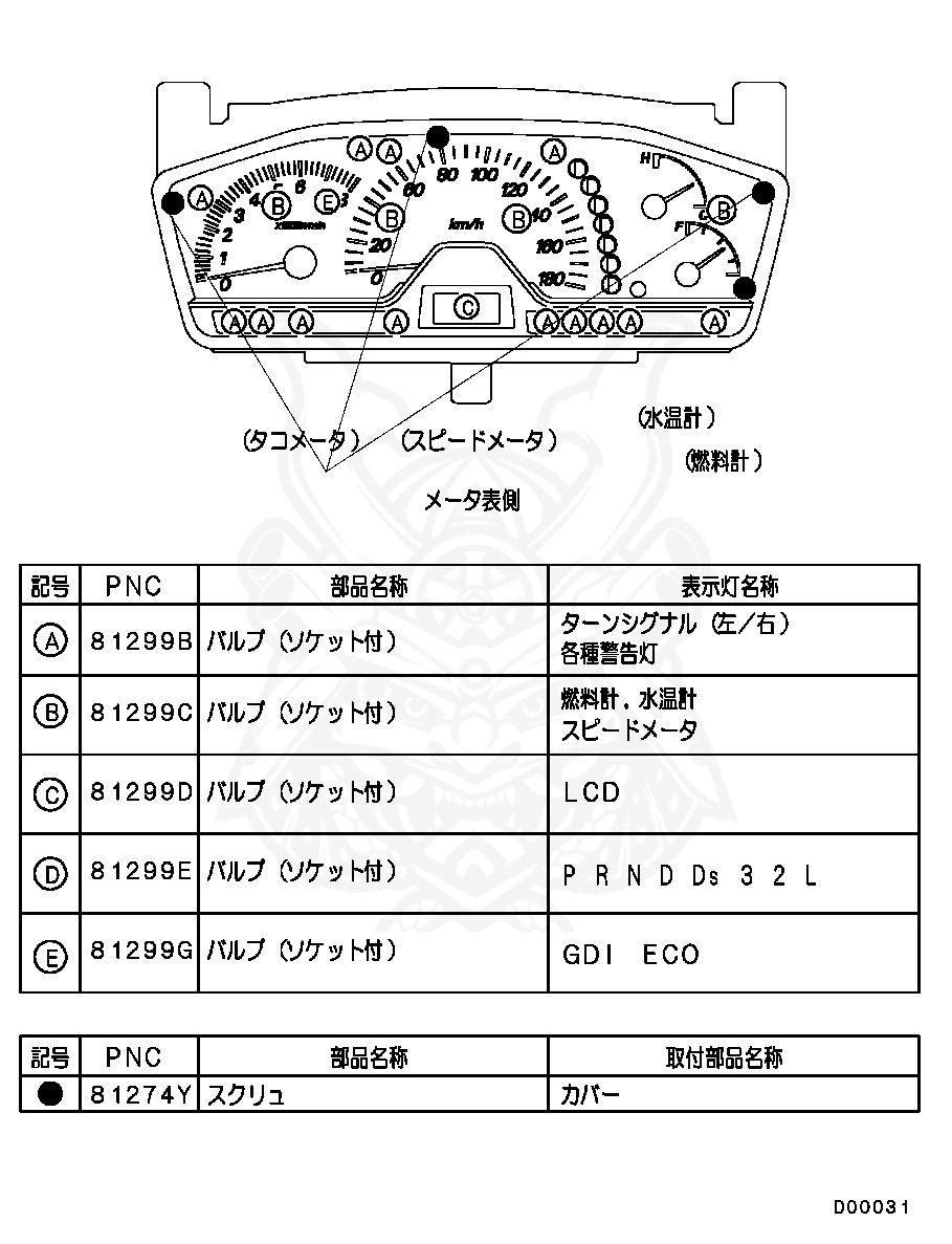 MR444537 Genuine Mitsubishi BULB,INST PANEL METER Car & Truck ...