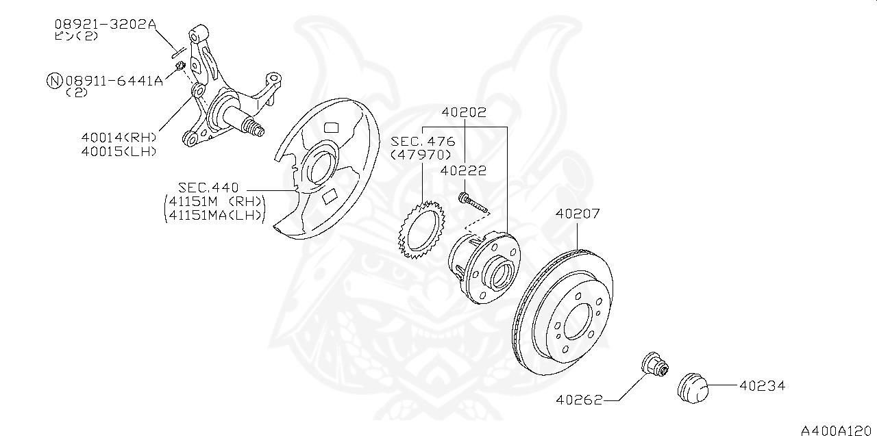 402005L310 Genuine Nissan HUB ASSY-ROAD WHEEL,FRONT RH 40200-5L310