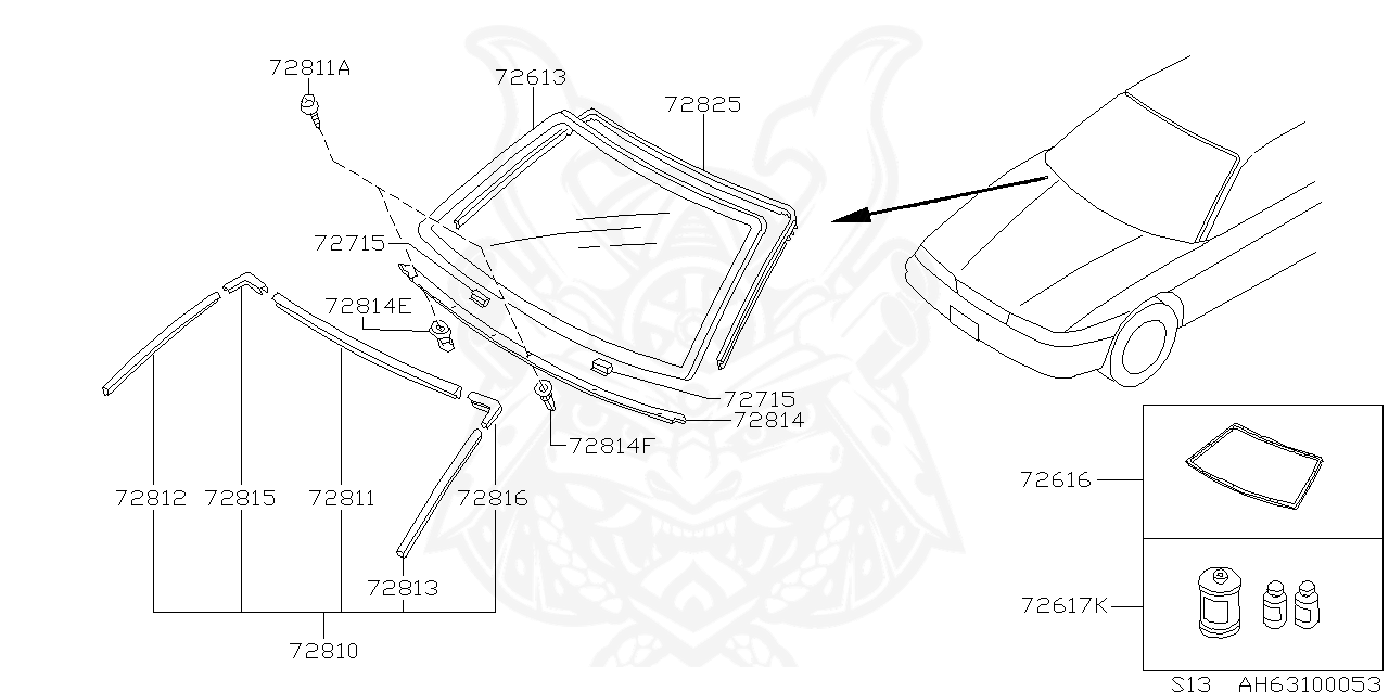 Nissan - Sealant Kit, Glass