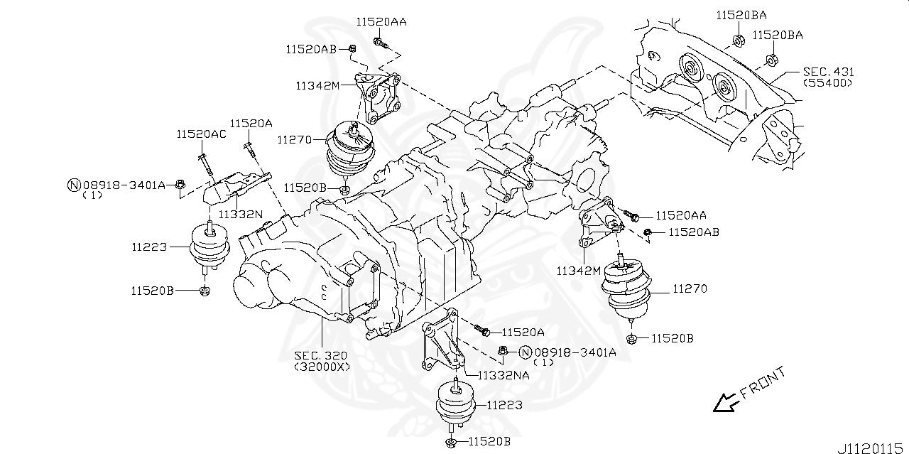 11340-JF00C - Nissan - Transmission Mount Rear - Nengun ... on