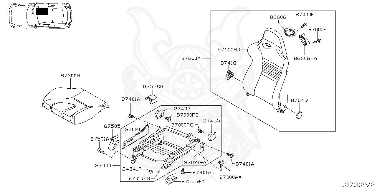 87400-JW69A - Nissan - Adjuster Assembly, Front Seat RH - Nengun PerformanceNengun Performance