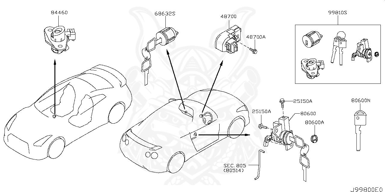 Nissan - Screw, Steering Lock