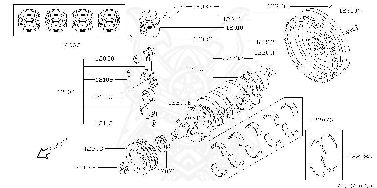 1230961503 Genuine Nissan NUT-PULLEY,CRANKSHAFT 12309-61503