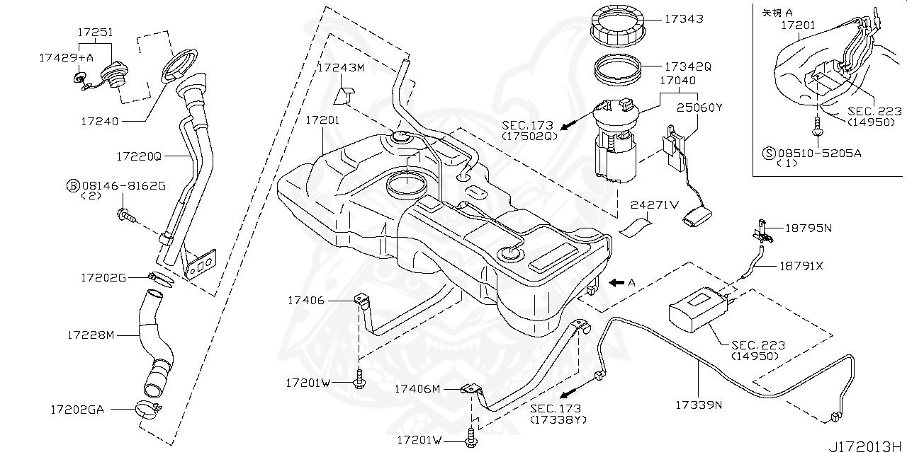 Nissan - Grommet, Filler Base