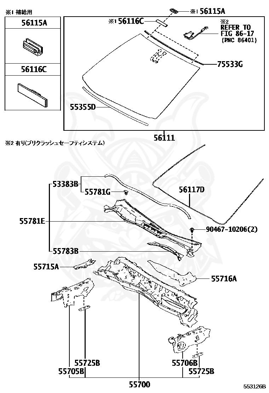 Lexus - Dam, Windshield Glass Adhesive