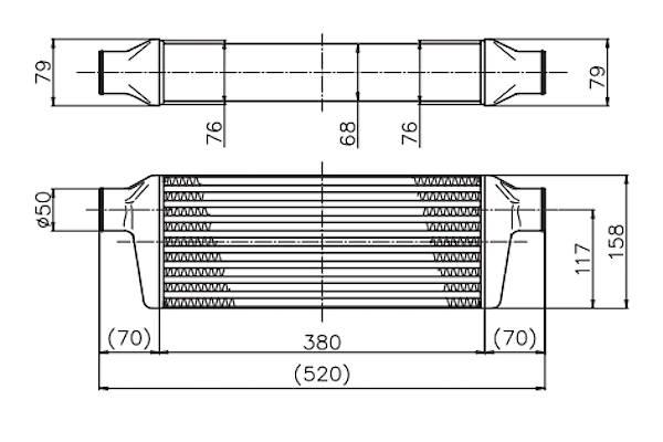 Side Tanks: No.46 + No.46 - Core: TYPE41F ASSY - Height: 158mm - Length: 380mm - Thickness: 76mm - 12000041