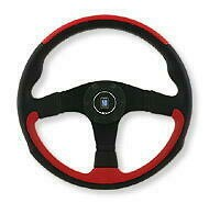 Black/Red  Leather and Black Spoke 350mm