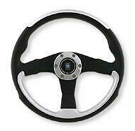 Black/Inox Silver  Leather and Black Spoke 350mm