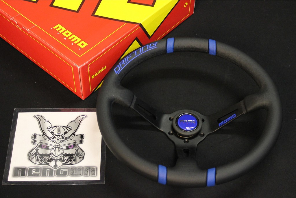 350/85mm - Black/Blue 350mm Diameter - 85mm Deep - Black Spoke - Blue Stitch - Black Leather