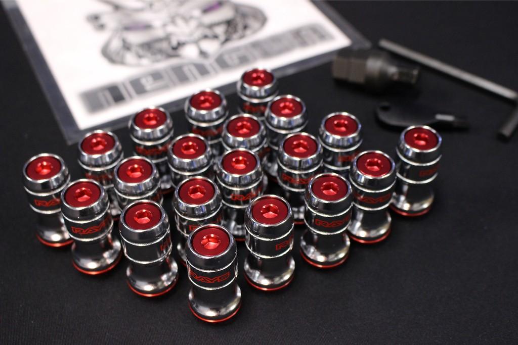 Colour: Red - Thread: M12 x 1.5 - Quantity: 20 - Formula Nut Set