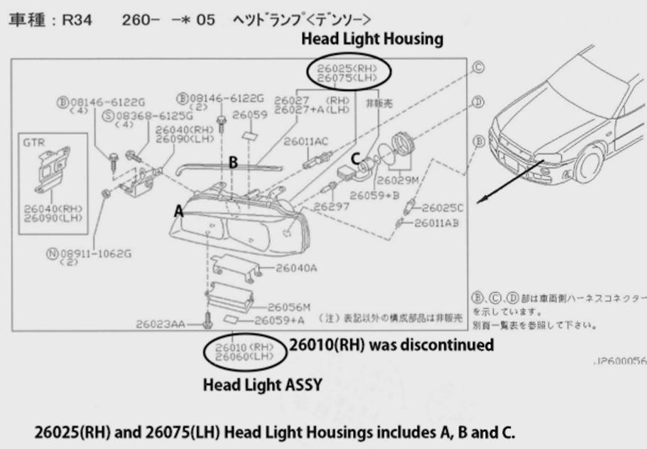 nissan r34 gtr headlight nengun performance