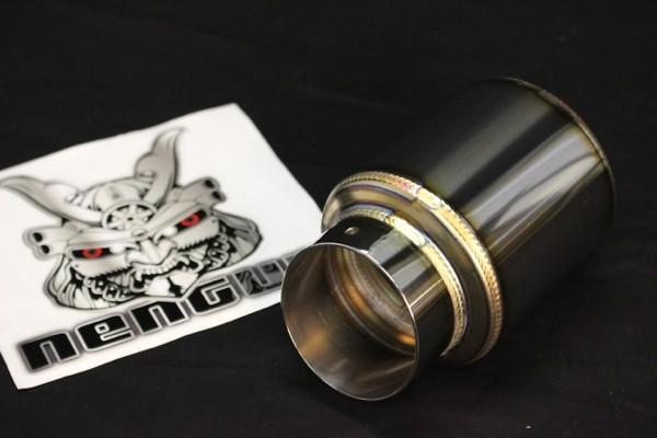 GT box type - slashed tail - Diameter: 96mm - Tail Diameter: 70mm - Pipe Diameter: 50mm - Length: 155mm - SL.GB310