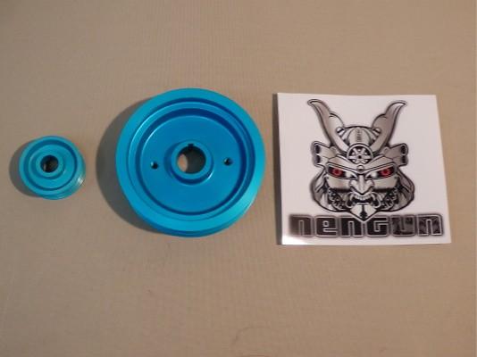 E-104 Ultra Lightweight Pulley Kit - x1 Crankshaft pulley, x1 Alternator pulley