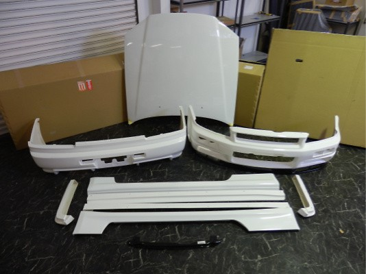 Nissan Skyline 2 DR ER34 FRP Bonnet without any duct + New type front bumper with under spoiler 2 +