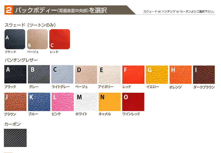 Choose the Insert Body Colour and Fabric (Step 2)