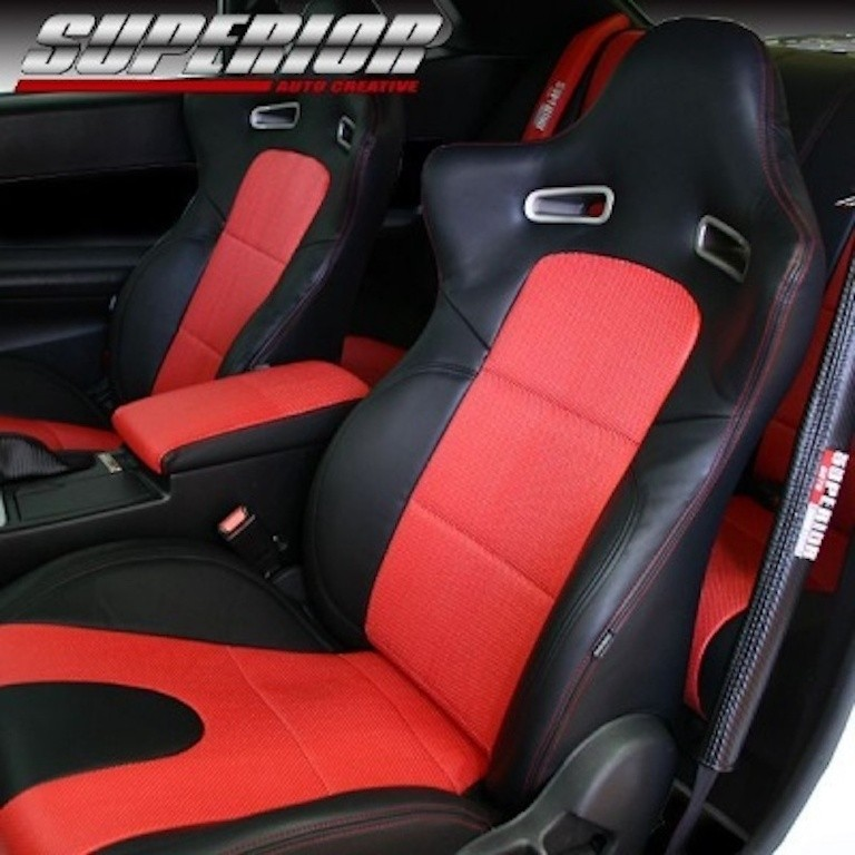 Front Set without Side Airbags - Material: PVC - Color: Black - Insert: Red - Thread: Red - Seat: Front Set - SACPTZ-BNR34-FRT