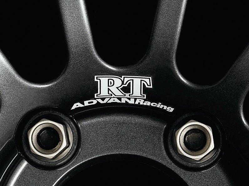 ADVAN Racing RT dedicated sticker between nut holes - Colour: White - Quantity: 2 - Wheel: Dark Gun metallic - V0212