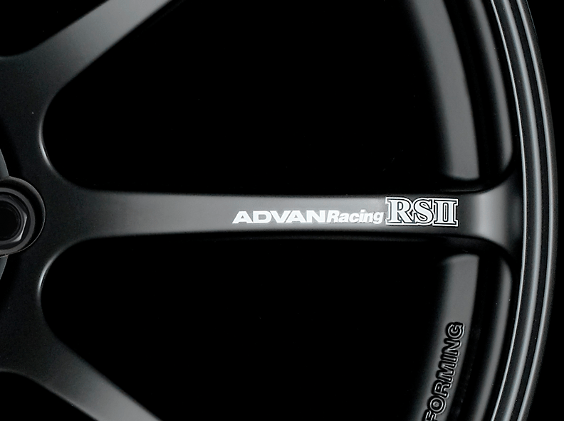 ADVAN RS II Spoke Sticker - Colour: White - Quantity: 2 - Wheel: Semi Gloss Black / Racing Red - V0621