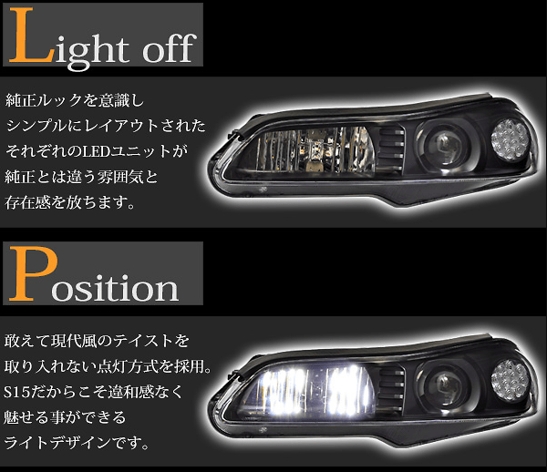Full LED Headlight Black - 15SILVIA