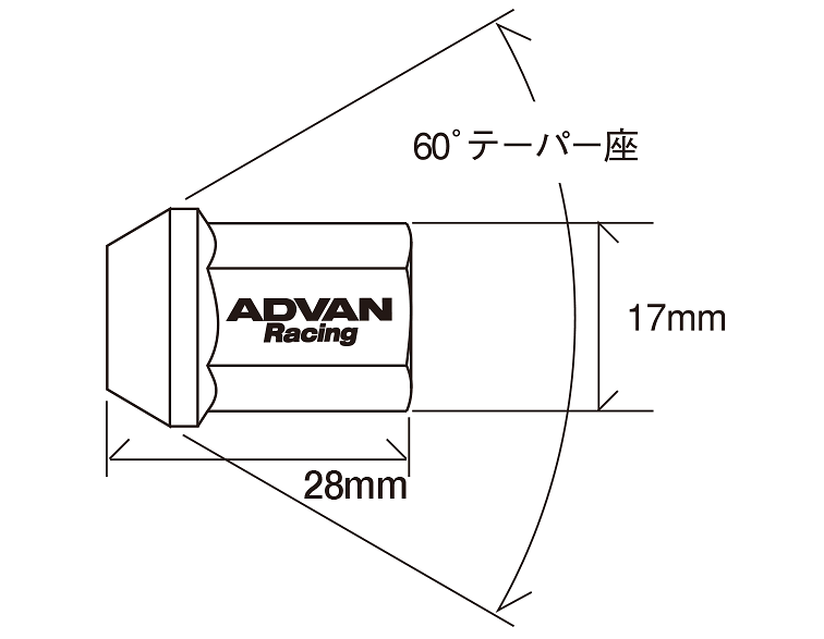Colour: Black - Thread: M12×1.50P - Length: 28mm - Quantity: 4 - Taper: 60 degrees - V2379