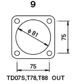 TD07S/T78/T88 - Without Actuator - Outlet - Metal - For square flange type (94mm coupling type not p