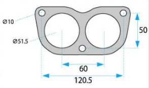 Glasses - Bolts: 3 - ID: 50mm (x2) - Pitch1: 120.5mm - Pitch2: 50mm - HPGS-50W