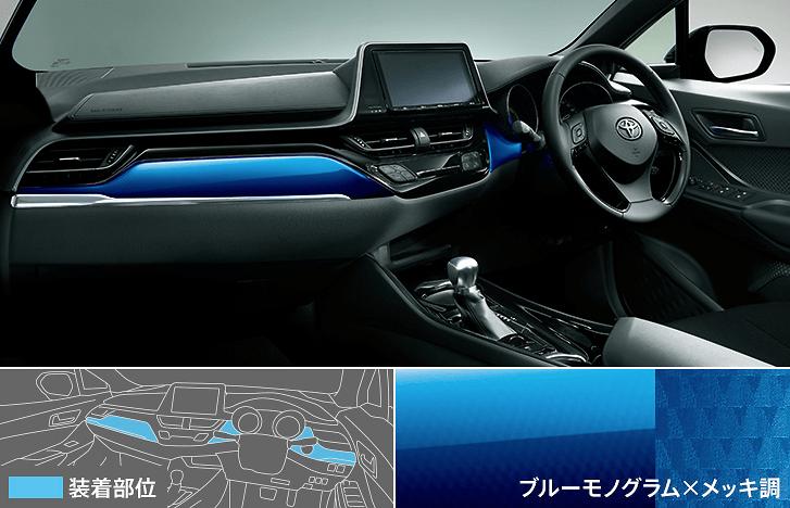 Interior Panel Set - Blue monogram × plating style - Construction: PMMA - Colour: Blue/Chrome - D25