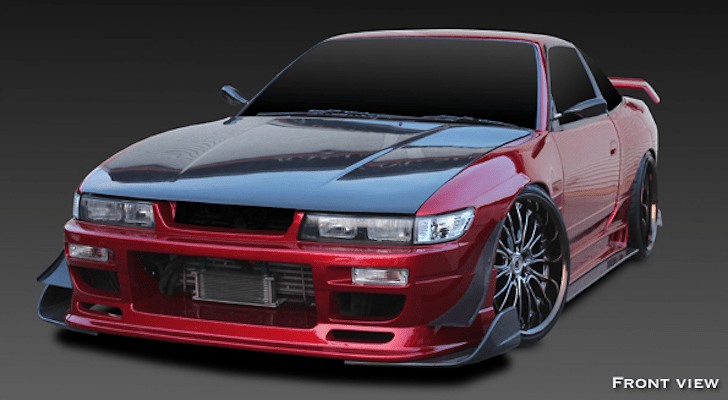 Wide Body 5 Piece Kit: Front Bumper Spoiler + Side Steps + Rear Bumper Spoiler + Front Fenders (+20mm) + Rear Fenders (+50mm) - Construction: FRP - Colour: Unpainted - GCFLASH-SIL80-WB5P