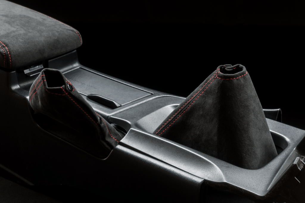 Shift Boot & Hand Brake Boot Kit - Material: Alcantara - Stitch: Grey - Stitch: Red - BCNR33-SB-AL