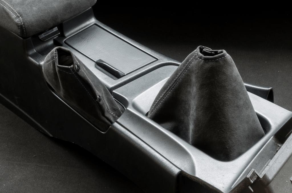 Shift Boot & Hand Brake Boot Kit - Material: Alcantara - Stitch: Grey - Stitch: Red - BNR32-SB-AL