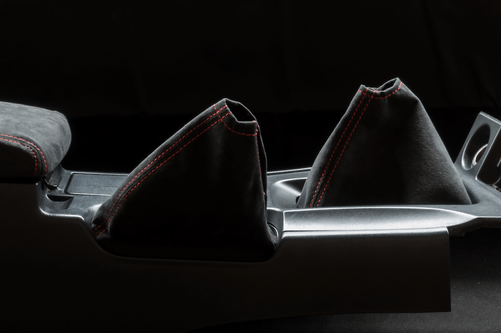 Shift Boot & Hand Brake Boot Kit - Material: Alcantara - Stitch: Grey - Stitch: Red - BNR34-SB-AL