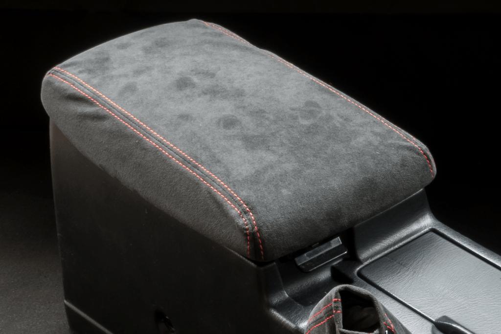 Center Armrest Kit - Material: Alcantara - Stitch: Grey - Stitch: Red - BNR34-CA-AL