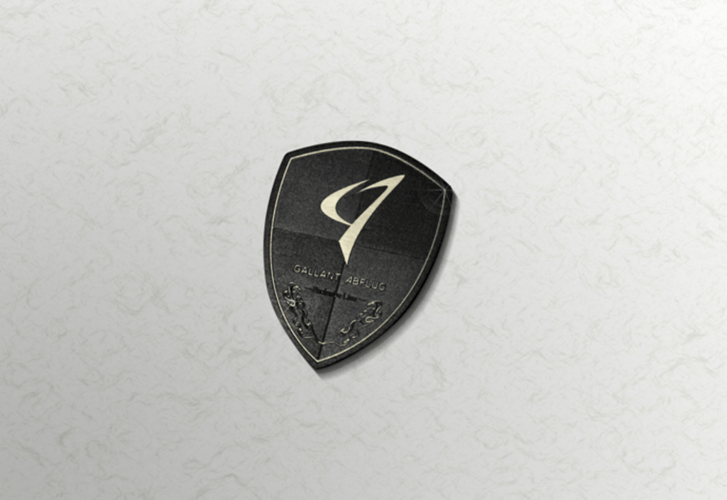 Colour: Gray, Black & Silver (SUS) - Size: W50mm H70mm - GALLANT ABFLUG Crest Emblem