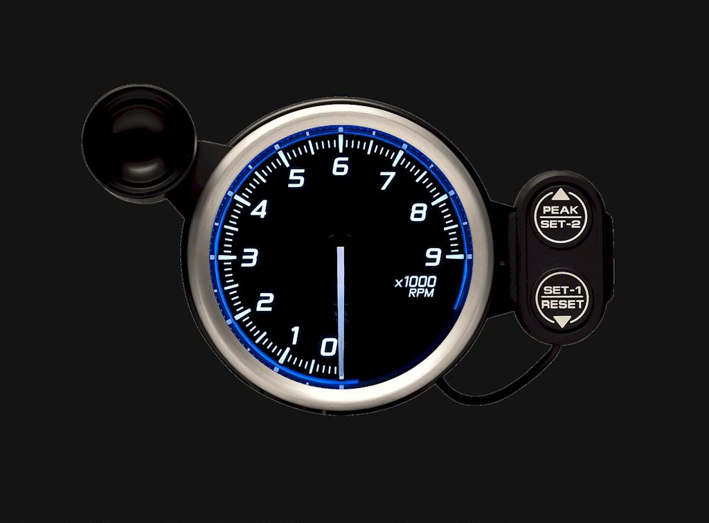 Type: Tachometer - Color: Blue - Diameter: 80mm - Range: 0 to 9000RPM - DF17201