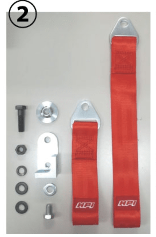 Belt & Adapter Set for U-shaped Tow Hook - Colour: Red - Length: 10cm - Strength: 3000kg - HPCG-TBADP102