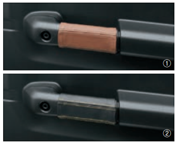 Genuine Leather Door Grip Cover (L+R) - Category: Interior - Colour: Black w/ Yellow Stitching - 9914R-77R00-002