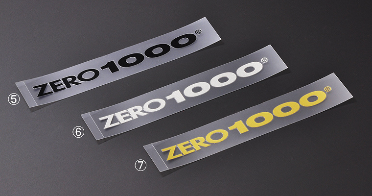 "#6 ""ZERO1000"" alphabet logo sticker S size - Size: 13mm x 150mm - Colour: Silver - 702-A017"