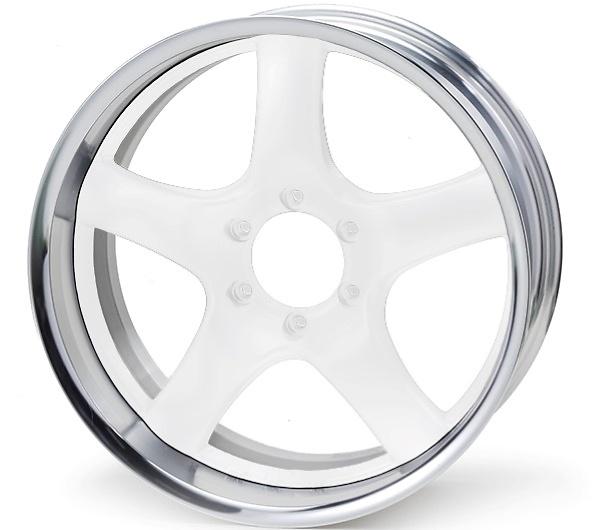 Rim: Buffed Anodized Aluminum, Disc: White