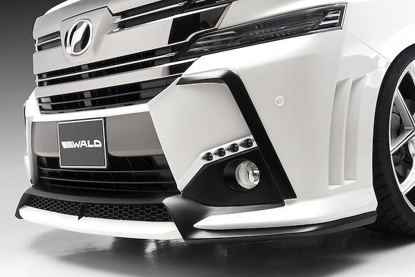 Front Bumper Spoiler with LEDs - Construction: FRP - Colour: Unpainted - WALD-VSLAGBT-FBPwLED