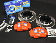 EC6YFD3S16 (Scotts Ride) Mazda RX7 FD3S RED 6 Pot Front Calipers x 345mm Disc 2 X BLACK Hub Rotors -