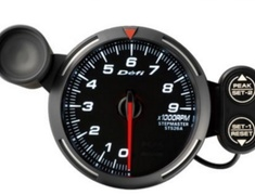 Defi Racer DF12003 Tachometer White  0 - 9000RPM - 80mm Diameter